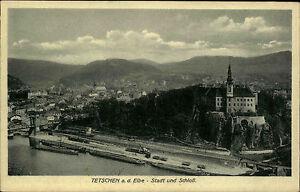 Tetschen-D-in-Tschechien-Postkarte-1910-Stadt-und-Schloss-mit-Elbe-Panorama