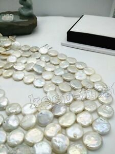 14mm-Coin-White-Freshwater-Pearl-Gemstone-Jewelry-Making-Loose-Beads-Strand-15