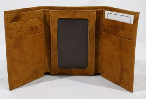 North Dakota NDSU Bison Embossed Brown Leather Trifold Wallet NEW in Gift Tin