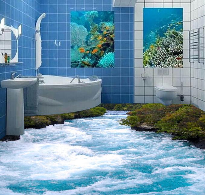 3D Grün Shrub River 773 Floor WallPaper Murals Wall Print Decal AJ WALLPAPER