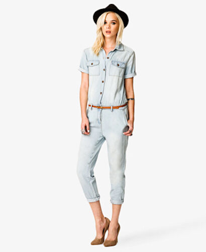 00eedebf53 NWOT FOREVER 21 FADED BELTED DENIM SKINNY JUMPSUIT M MEDIUM SFS  nnvbwb3675-Jumpsuits & Playsuits
