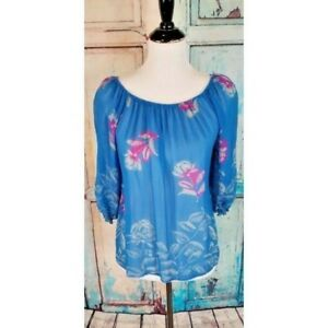 Anthropologie-Fei-Silk-Bardot-Top-Chiffon-Flora-peasant-blouse-blue-size-small