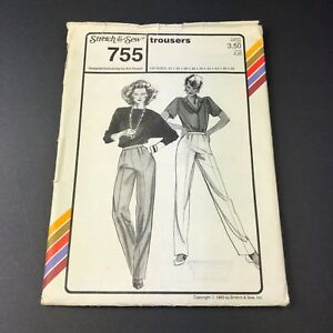 Stretch-amp-Sew-Vintage-Sewing-Pattern-755-Trousers-Womens-Hip-Sizes-32-48-Uncut