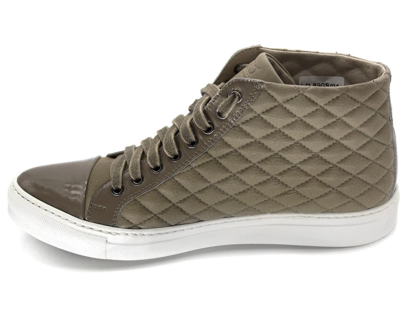* 37 nouveaux hommes gris en cuir beige haut réels haut beige baskets formateurs italie 4c1aac