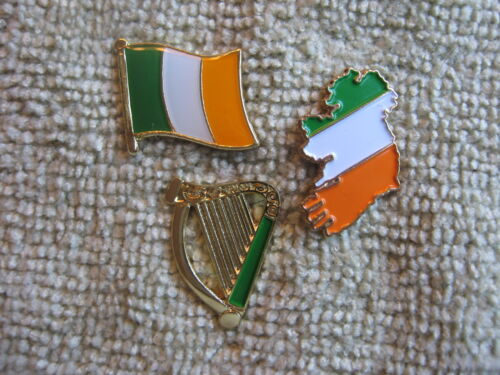 "/""Official Irishman/"" Irish Harp /& Ireland Map /& Flag 3Pc Badge Set Sinn Fein AOH"