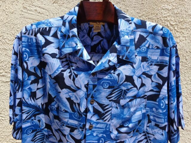 Men's PANAMA JACK XL/XG Rayon Hawaiian Short Sleeve Hibiscus & Vintage Cars