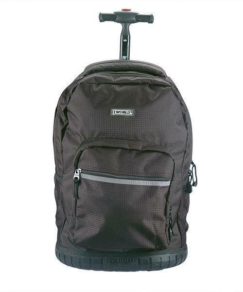 J World New York Sunrise 18-inch Rolling Backpack - Black - Carry On - $67.49