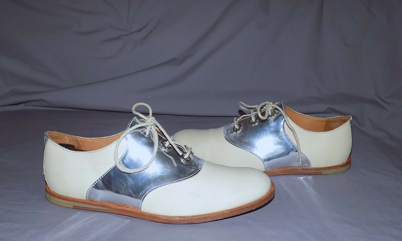 OPENING CEREMONY Leather-Beautiful Genuine Leather-Beautiful CEREMONY Oxfords-Größe7M-Beige Silber- AS IS d8e837