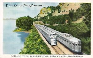 VISTA-DOME-ZEPHYRS-Burlington-Route-Railroad-Trains-Vintage-Postcard