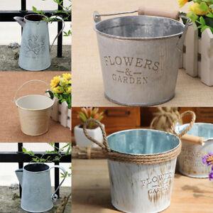 Secchio-di-latta-in-metallo-vintage-piante-vasi-vasi-di-erbe-pot-contenitore