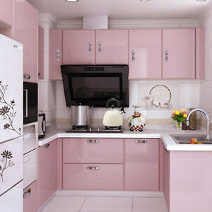 Image Is Loading Pink Wallpaper Self Adhesive Kitchen Cupboard Door Cover
