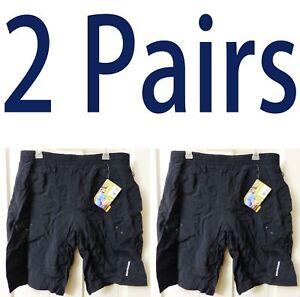 Lot-of-2-Schwinn-Men-Mountain-Bike-Shorts-XL-Black-Pocket-Padded-Lined-Baggy