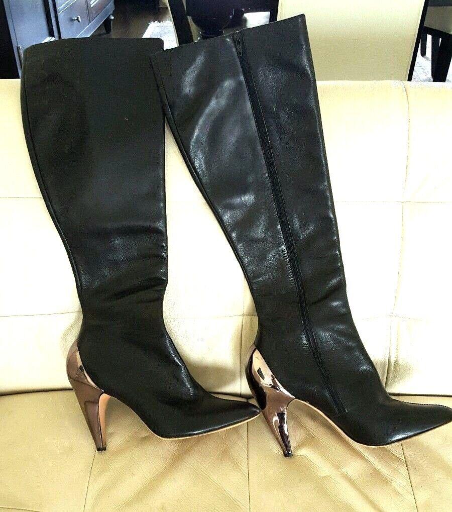 REPORT SIGNATURE Black Leather Leather Leather Knee High Chrome Metallic Heel Almond Boots 8.5 7e9e9c