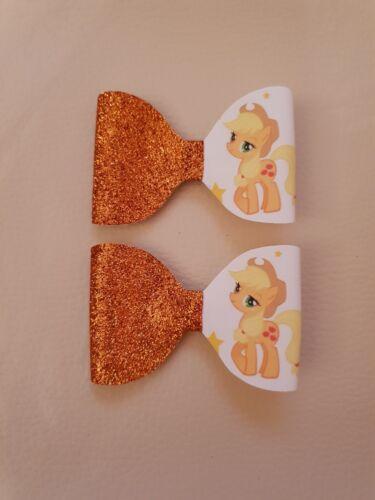 *One* Applejack My Little Pony Orange Glitter Hair Bow