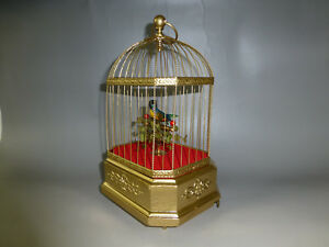 Other Antique Decorative Arts Antique German Singing Bird Cage Music Box Automaton Real Hummingbird Feathers