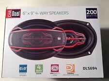 "Dual Electronics DLS694 6""x9"" 4-Way High Performance Car Speakers 200W"