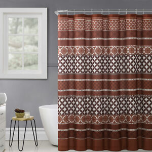 Rust-Brown-Beige-Fabric-Shower-Curtain-Trendy-Eclectic-Geo-Design-72-034-x-72-034