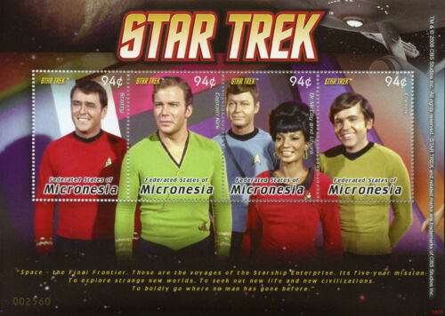 Micronésie 2008 neuf sans charnière Star Trek Capitaine Kirk Scotty Dr McCoy Uhura 4 V M//S I Timbres
