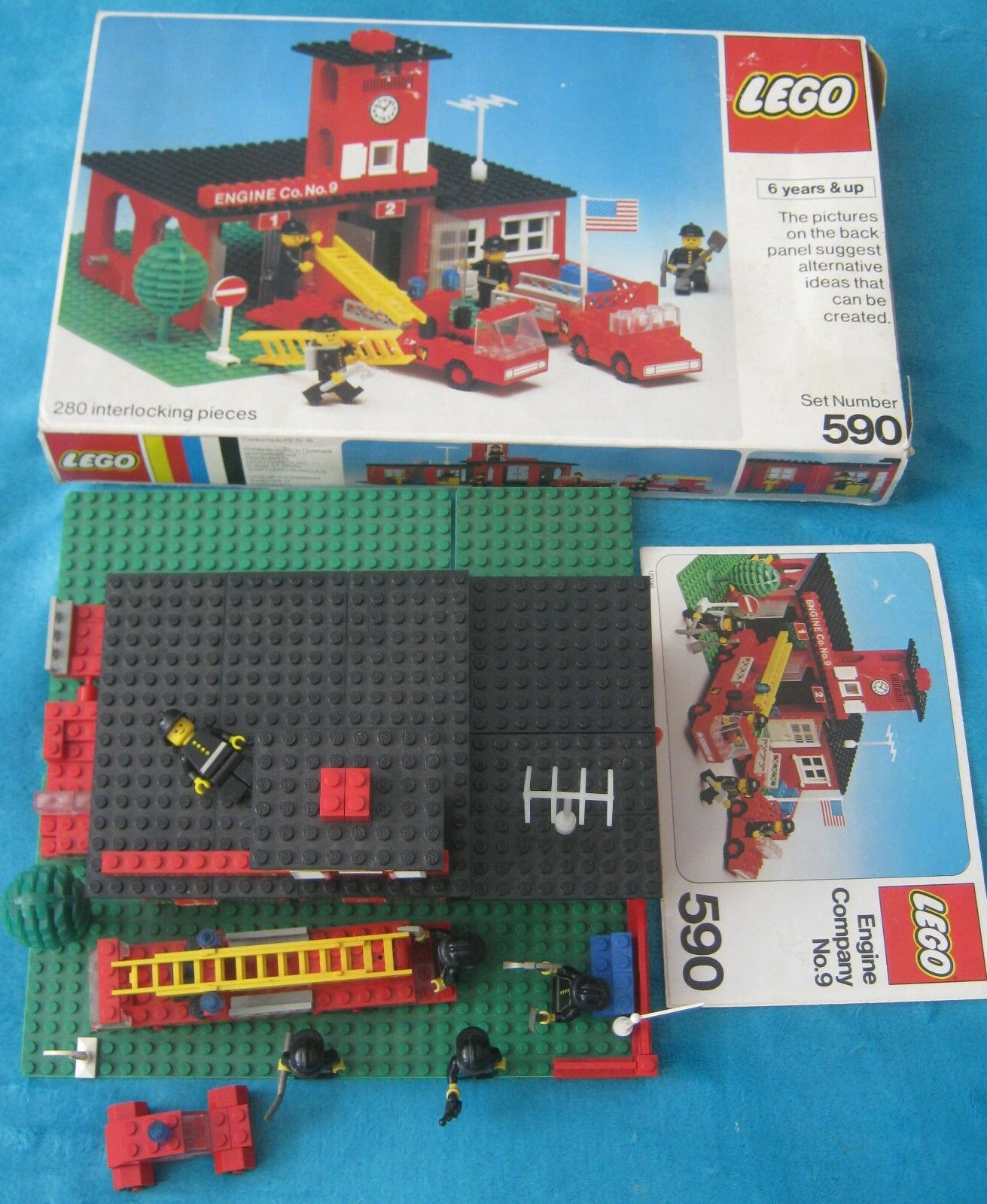 LEGO 590 Engine Company No. 9 - 100% Complete + BOX & Instructions Vintage TOWN