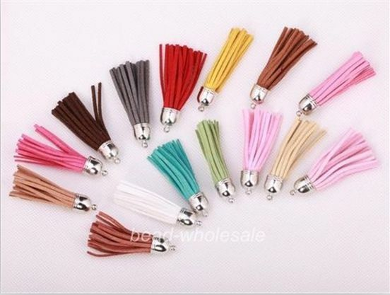 5pcs Fashion Artificial Leather Cord Tassel Charms Pendants For Jewelry Making