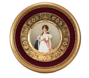 Royal-Vienna-Hand-Painted-Cabinet-Plate-of-Queen-Louise-c-1900-Signed-Wagner