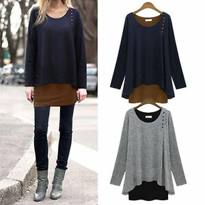 Womens Long Sleeve Loose Blouse Tops Ladies Tunic T-Shirt Pullover Jumpers New