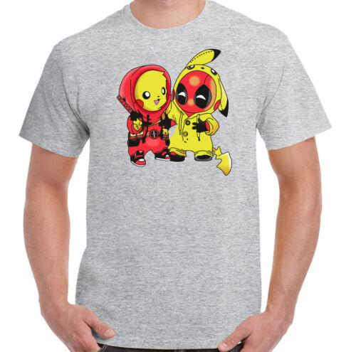 DEADPOOL PIKACHU T-SHIRT Pokemon Unisex Tee Top PikaPool Mens Funny Parody