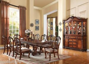 Nathaneal Traditional Tobacco Finish 9 Pc Dining Table Set Chairs Dining Room