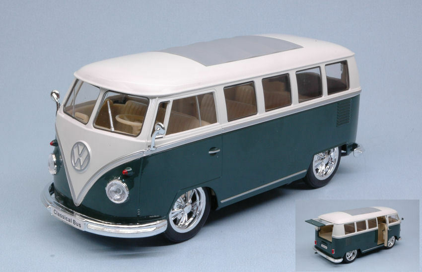 Volkswagen VW T1 Bus 1962 Hot Rider Green W  White Roof 1 24 Model 22095GN WELLY
