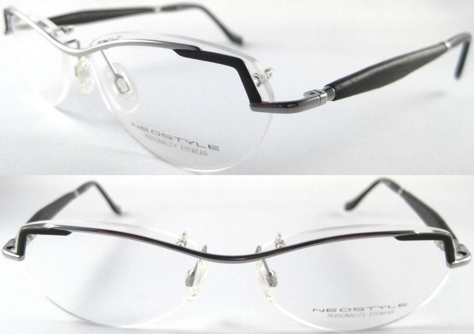 NEOSTYLE Herren Brille, NeusilberFederscharnierHolz BügelSilberSchwarz