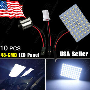 10X-Cool-White-RV-1141-1156-BA15S-amp-T10-921-194-48-SMD-Panel-Interior-LED-Lights