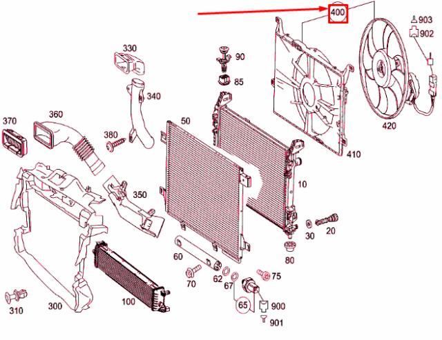 MERCEDES-BENZ Ein W169 Kühler Gebläse A1695002493 Neu Original