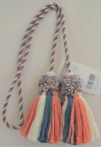 """Curtain /& Chair Tie Back Conso 28/""""spread w// 4/"""" tassels w// 1//4/"""" cord 3 colors!"""