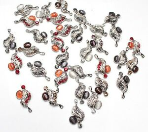 30-x-Anhaenger-Charms-Ketten-Anhaenger-aus-Metall-Glascabochon-Strass-Farb-Mix