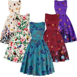 Women-Butterfly-50s-Rockabilly-Swing-Dress-Flared-Vintage-Pin-Up-Party-Dance