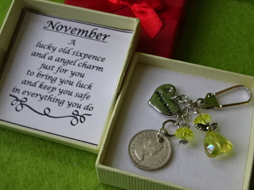 MONTH HEART CHARM AND BIRTHSTONE COLOUR ANGEL,LUCKY SIXPENCE KEEPSAKE GIFT BOXED