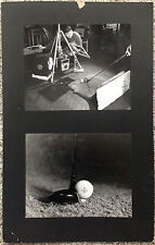 VINTAGE c.1960s High Speed Photo Shoot Golf Ball 2 MOUNTED Photos