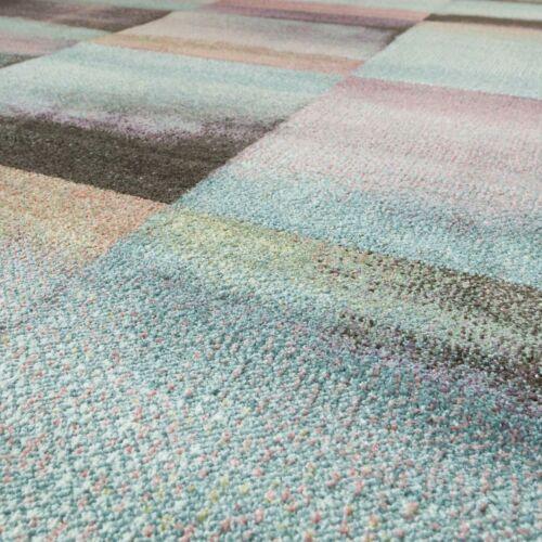 Alfombra De Salón Moderna Cuadros Tono Pastel Turquesa Rosa Antracita Multicolor