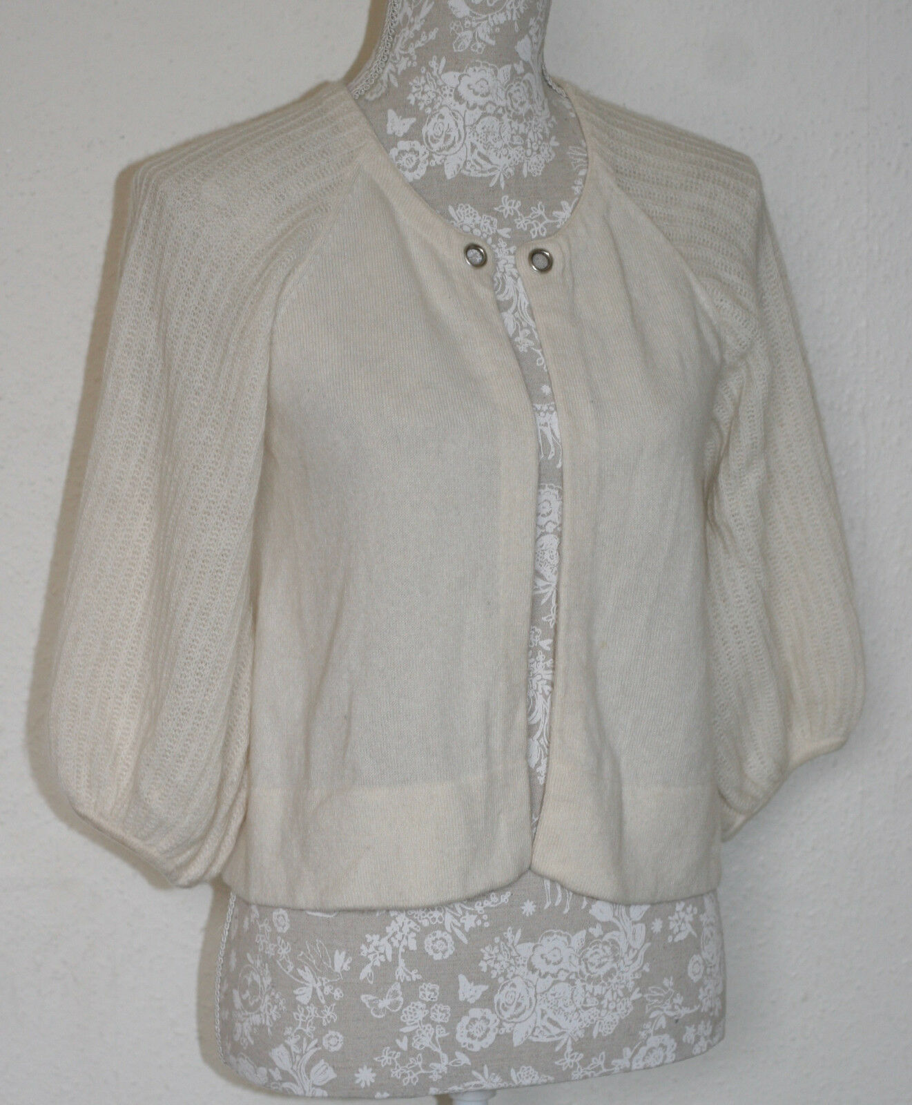 100% CASHMERE M M M 12 CHRISTOPHER FISCHER CREAM BEAUTIFUL SLEEVE SHRUG CARDIGAN bf59ef