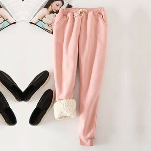 Women Winter Warm Thick Fleece Flannel Thermal Trousers Sweatpants Stretchy Pant