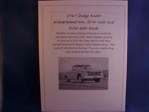 1967 Dodge pickup//van factory cost//dealer sticker prices for truck//options $ 67