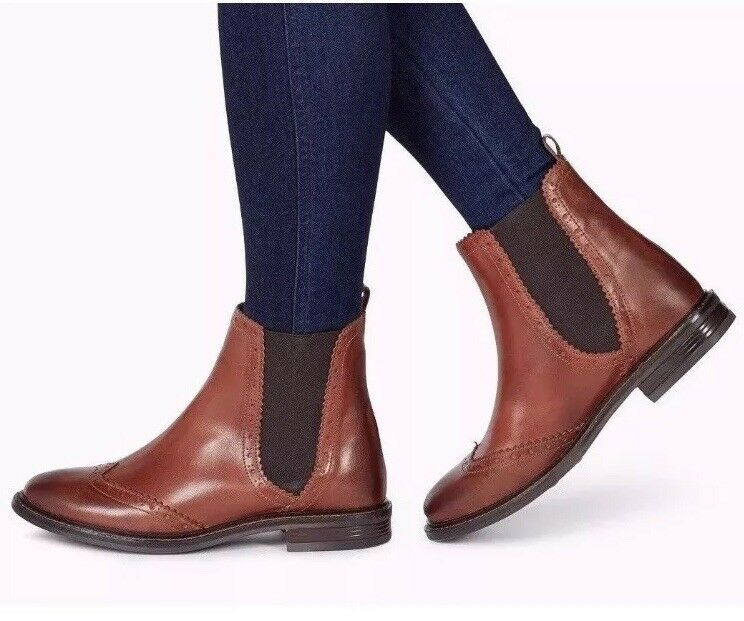 New�Next�Größe 8 (42) Braun Leder Slip Stiefel On Chelsea Brogues Ankle Stiefel Slip Schuhes 547a3c