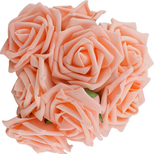 10 Pcs Pretty Head Real Touch Latex Rose Flowers For Wedding Bouquet Home