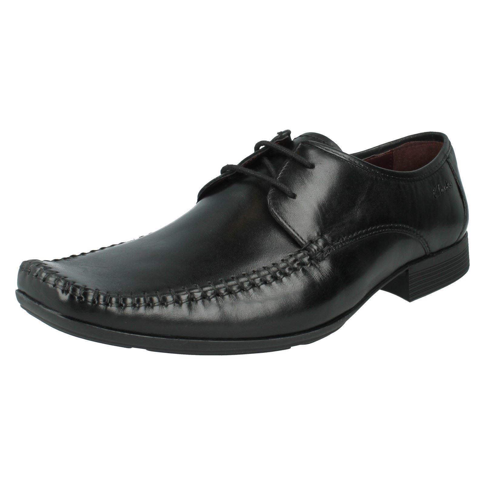 Herren Clarks schwarz Leather Schnürschuhe Ferro Spazier G PASSFORM