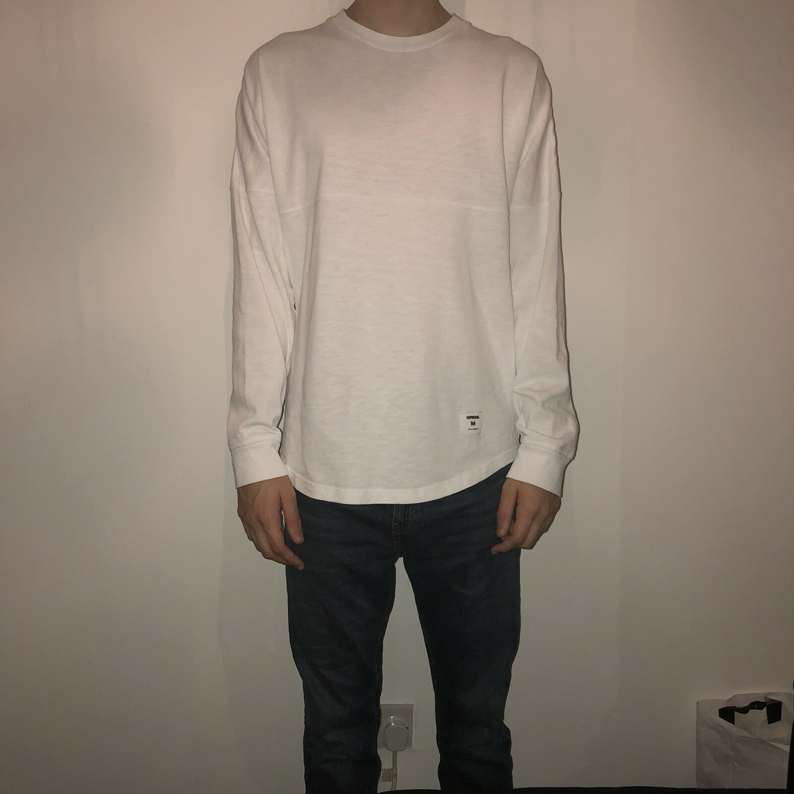 Supreme White Long Sleeve Top