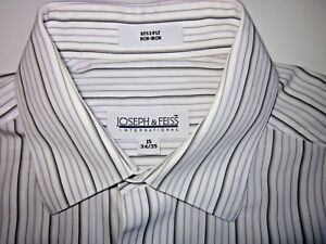 JOSEPH-amp-FEISS-Men-039-s-Dress-Shirt-Button-Down-EUC-White-Stripe-Size-15-34-35