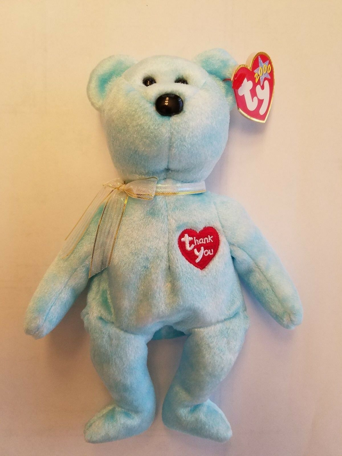 Ty Beanie Baby Thank You Bear (2000) (With Card) MWMT
