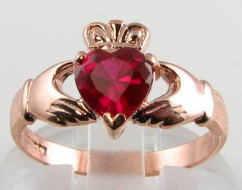 DIVINE 9CT 9K pink gold INDIAN RUBY CLADDAGH  HEART RING FREE RESIZE