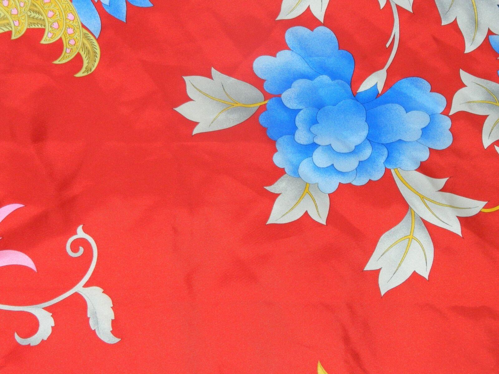 LEONARD PARIS SCARF SILK  BIG  FLORAL RED BLUE PI… - image 8
