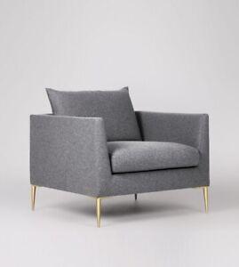 Swoon Catalan Living Room Modern Pepper Smart Wool Brass Armchair - RRP £649